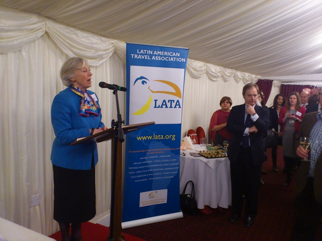 Baroness Hooper addressing the room